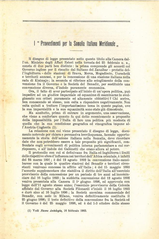 I provvedimenti per la Somalia Italiana Meridionale #1